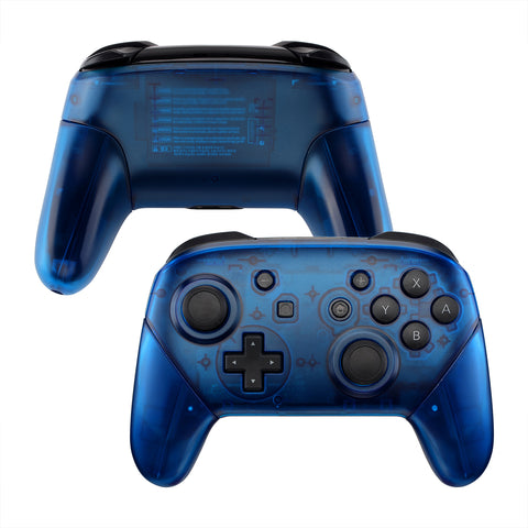 Transparent Blue Faceplate Backplate Handles for Nintendo Switch Pro Controller, DIY Replacement Grip Housing Shell Cover for Nintendo Switch Pro - Controller NOT Included - FRM503