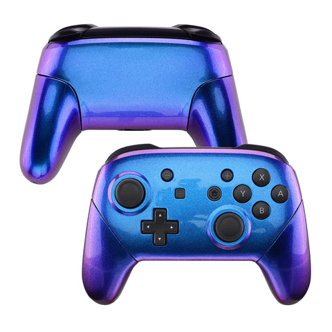 Chameleon Faceplate Backplate Handles for NS Switch Pro Controller, Purple Blue DIY Replacement Grip Housing Shell Cover for NS Switch Pro - Controller NOT Included - FRP301