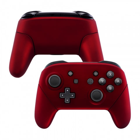 Red Faceplate Backplate Handles for Nintendo Switch Pro Controller, Soft Touch DIY Replacement Grip Housing Shell Cover for Nintendo Switch Pro - Controller NOT Included - FRP302