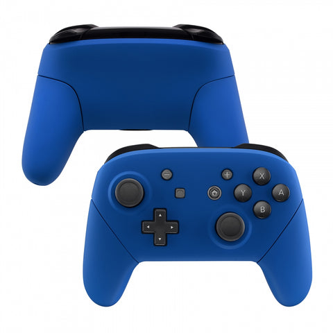Blue Faceplate Backplate Handles for Nintendo Switch Pro Controller, Soft Touch DIY Replacement Grip Housing Shell Cover for Nintendo Switch Pro - Controller NOT Included - FRP304