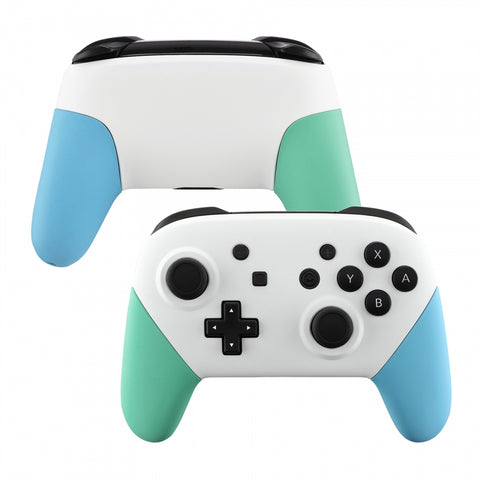 White Faceplate Backplate Mint Green Heaven Blue Handles for Nintendo Switch Pro Controller, DIY Replacement Grip Housing Shell Cover for Nintendo Switch Pro - Controller NOT Included - FRP313
