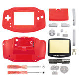 Red Solid Full Housing Shell Buttons with Screen Len for Nintendo Game Boy Advance - GBA0008GC