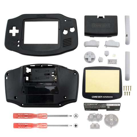 Black Solid Full Housing Shell Buttons with Screen Len for Nintendo Game Boy Advance - GBA001