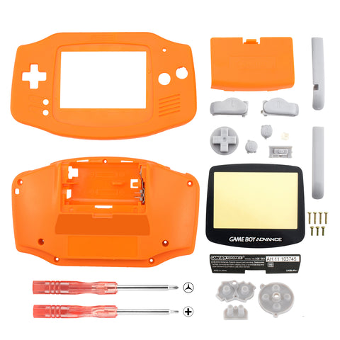 Orange Solid Full Housing Shell Buttons with Screen Len for Nintendo Game Boy Advance - GBA004