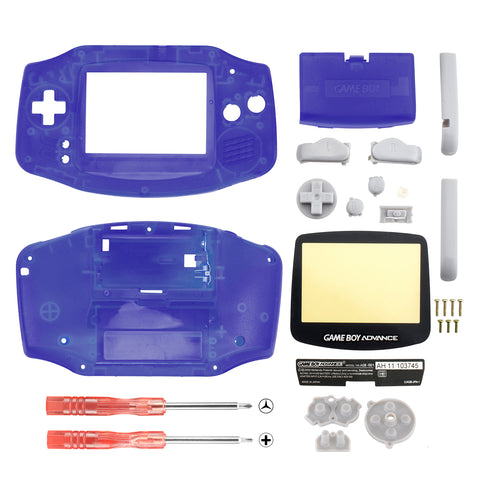 Clear Blue Full Housing Shell Buttons with Screen Len for Nintendo Game Boy Advance - GBA007