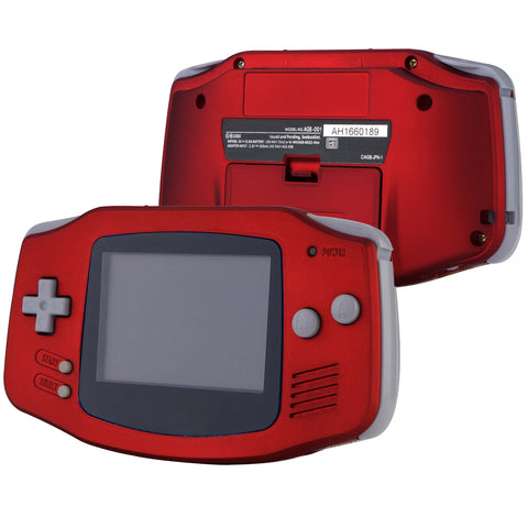 Scarlet Red Soft Touch GBA Replacement Full Housing Shell Cover w/ Buttons Screws Screwdriver Tools Set for Gameboy Advance - Handheld Game Console NOT Included - GBAP303