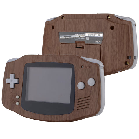 Wood Grain Patterned Soft Touch GBA Replacement Full Housing Shell Cover w/ Buttons Screws Screwdriver Tools Set for Gameboy Advance - Handheld Game Console NOT Included - GBAS201