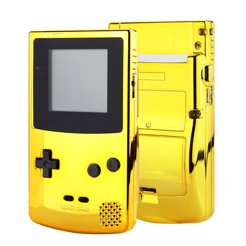 Chrome Gold GBC Replacement Full Housing Shell Cover w/ Buttons Screws Screwdriver Tools Set for Gameboy Color - Handheld Game Console NOT Included - GBCD401