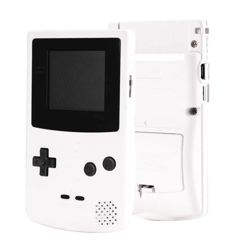 White Soft Touch GBC Replacement Full Housing Shell Cover w/ Buttons Screws Screwdriver Tools Set for Gameboy Color - Handheld Game Console NOT Included - GBCP308