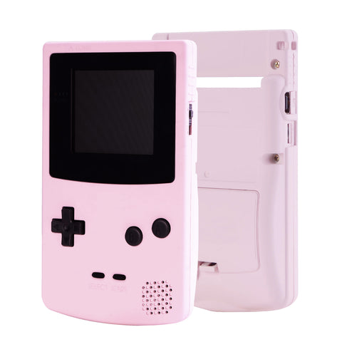 Sakura Pink Soft Touch GBC Replacement Full Housing Shell Cover w/ Buttons Screws Screwdriver Tools Set for Gameboy Color - Handheld Game Console NOT Included - GBCP312