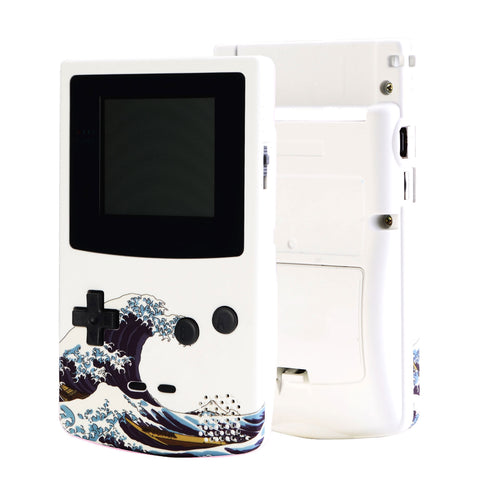 The Great Wave Patterned Soft Touch GBC Replacement Full Housing Shell Cover w/ Buttons Screws Screwdriver Tools Set for Gameboy Color - Handheld Game Console NOT Included - GBCT106