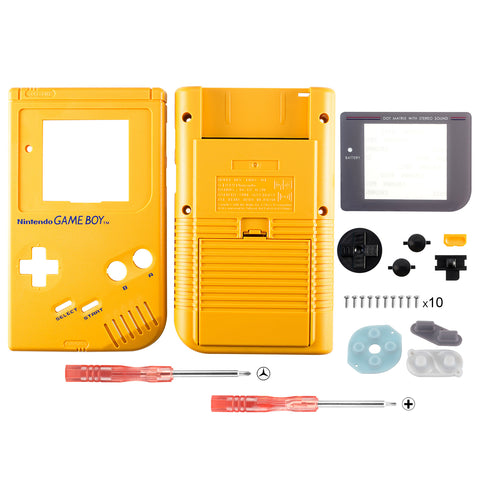 Yellow Solid Full Housing Shell Buttons with Screen Len for Nintendo Game Boy DMG-01 - GBF001
