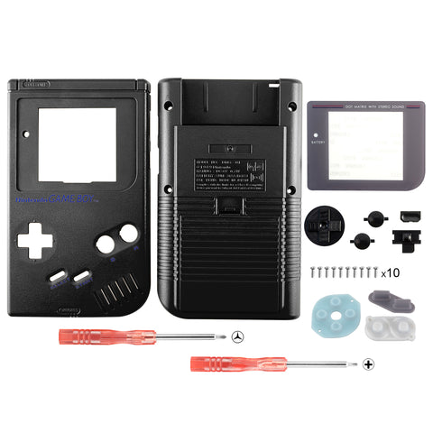 Black Solid Full Housing Shell Buttons with Screen Len for Nintendo Game Boy DMG-01 - GBF003