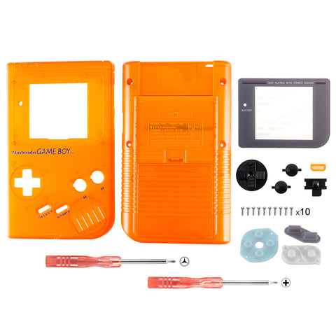 Clear Orange Full Housing Shell Buttons with Screen Len for Nintendo Game Boy DMG-01 - GBF006
