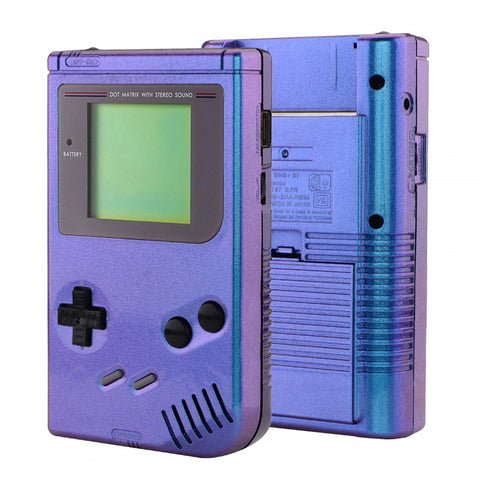 Chameleon Purple Blue Soft Touch Case Cover Replacement Full Housing Shell for Gameboy Classic 1989 GB DMG-01 Console with w/ Screen Lens & Buttons Kit - Handheld Game Console NOT Included - GBFP301