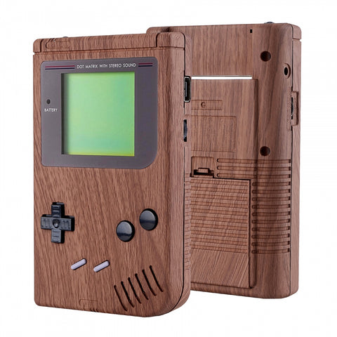 Wood Grain Soft Touch Case Cover Replacement Full Housing Shell for Gameboy Classic 1989 GB DMG-01 Console with w/ Screen Lens & Buttons Kit - Handheld Game Console NOT Included - GBFS201