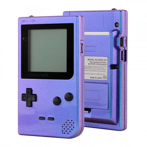 Chameleon Purple Blue Patterned Custom Full Housing Cover for Gameboy Pocket, Soft Touch GBP Replacement Shell for Game Boy Pocket w/ Screen Lens & Buttons Kit - Handheld Game Console NOT Included - GBPP301
