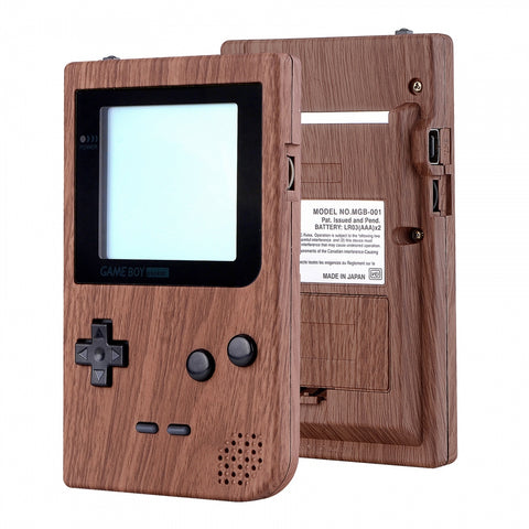 Wood Grain Patterned Custom Full Housing Cover for Gameboy Pocket, Soft Touch GBP Replacement Shell for Game Boy Pocket w/ Screen Lens & Buttons Kit - Handheld Game Console NOT Included - GBPS201