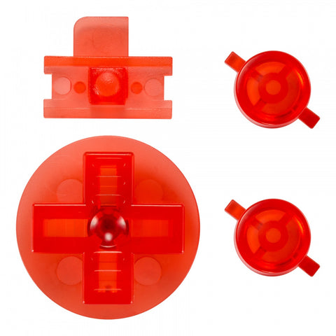 Transparent Red A B Buttons Dpad Control Complete Kit for Gameboy Classic Fat DMG-01 - GFAJ0009GC