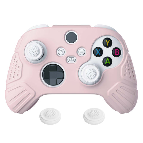 Guardian Edition Pink Ergonomic Soft Anti-slip Controller Silicone Case Cover, Rubber Protector Skins with White Joystick Caps for Xbox Series S and Xbox Series X Controller - HCX3005