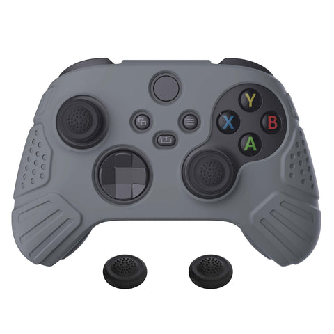 Guardian Edition Gray Ergonomic Soft Anti-slip Controller Silicone Case Cover, Rubber Protector Skins with Black Joystick Caps for Xbox Series S and Xbox Series X Controller - HCX3006