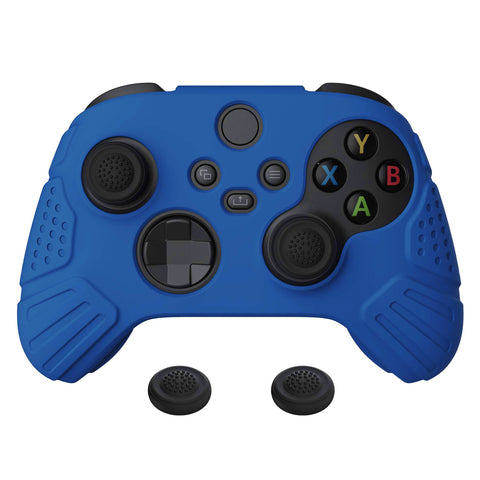 Guardian Edition Blue Ergonomic Soft Anti-slip Controller Silicone Case Cover, Rubber Protector Skins with Black Joystick Caps for Xbox Series S and Xbox Series X Controller - HCX3008