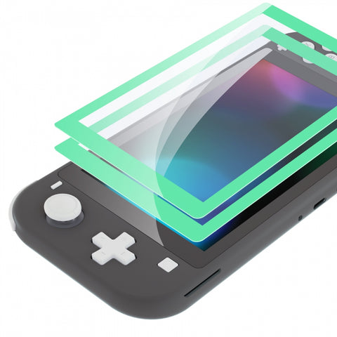 2 Pack Mint Green Border Transparent HD Saver Protector Film, Tempered Glass Screen Protector for Nintendo Switch Lite [Anti-Scratch, Anti-Fingerprint, Shatterproof, Bubble-Free] - HL714