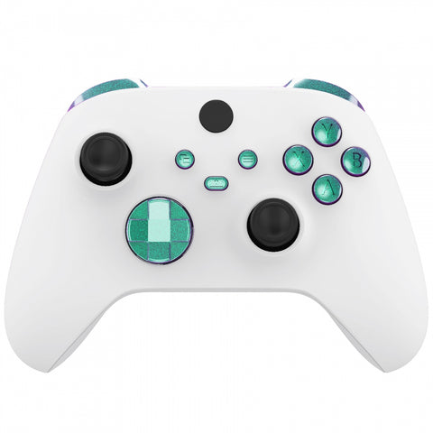 Chameleon Green Puple Replacement Buttons for Xbox Series S & Xbox Series X Controller, LB RB LT RT Bumpers Triggers D-pad ABXY Start Back Sync Share Keys for Xbox Series X/S Controller - JX3102