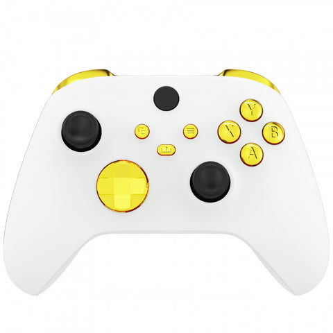Chrome Gold Replacement Buttons for Xbox Series S & Xbox Series X Controller, LB RB LT RT Bumpers Triggers D-pad ABXY Start Back Sync Share Keys for Xbox Series X/S Controller  - JX3201