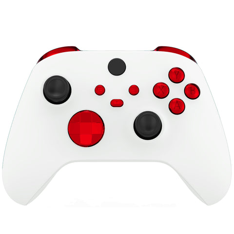 Chrome Red Replacement Buttons for Xbox Series S & Xbox Series X Controller, LB RB LT RT Bumpers Triggers D-pad ABXY Start Back Sync Share Keys for Xbox Series X/S Controller  - JX3203