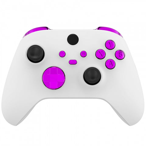 Chrome Purple Replacement Buttons for Xbox Series S & Xbox Series X Controller, LB RB LT RT Bumpers Triggers D-pad ABXY Start Back Sync Share Keys for Xbox Series X/S Controller  - JX3205