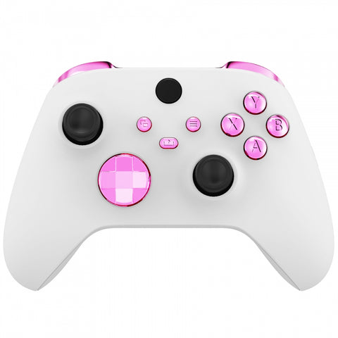 Chrome Pink Replacement Buttons for Xbox Series S & Xbox Series X Controller, LB RB LT RT Bumpers Triggers D-pad ABXY Start Back Sync Share Keys for Xbox Series X/S Controller  - JX3207