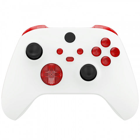 Transparent Red Replacement Buttons for Xbox Series S & Xbox Series X Controller, LB RB LT RT Bumpers Triggers D-pad ABXY Start Back Sync Share Keys for Xbox Series X/S Controller  - JX3302