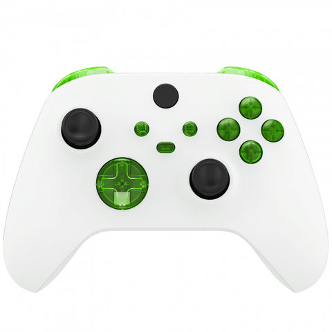 Transparent Green Replacement Buttons for Xbox Series S & Xbox Series X Controller, LB RB LT RT Bumpers Triggers D-pad ABXY Start Back Sync Share Keys for Xbox Series X/S Controller  - JX3303