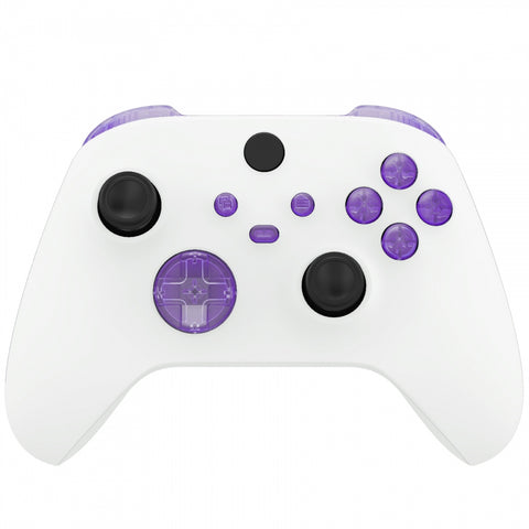 Clear Atomic Purple Replacement Buttons for Xbox Series S & Xbox Series X Controller, LB RB LT RT Bumpers Triggers D-pad ABXY Start Back Sync Share Keys for Xbox Series X/S Controller  - JX3305