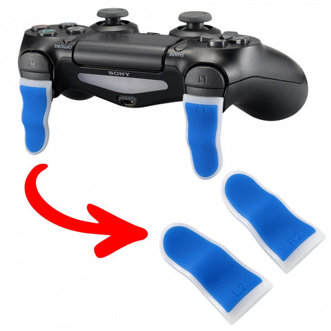 1 Pair Blue White Soft Touch L2 R2 Buttons Extention Trigger, Soft Touch Grip Extenders for PlayStation 4 PS4 Pro PS4 Slim JDM-001 JDM-011 JDM-040 JDM-050 JDM-055 Controller - JYP4S0023
