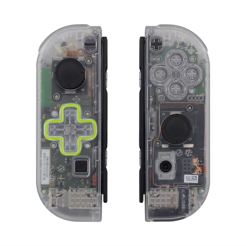 Transparent Clear Joycon Handheld Controller Housing (D-Pad Version) with Full Set Buttons, DIY Replacement Shell Case for Nintendo Switch Joy-Con - Console Shell NOT Included - JZM501
