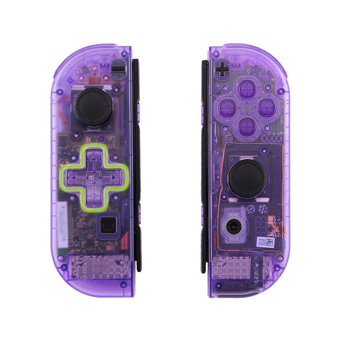Clear Atomic Purple Joycon Handheld Controller Housing (D-Pad Version) with Full Set Buttons, DIY Replacement Shell Case for Nintendo Switch Joy-Con - Console Shell NOT Included - JZM505