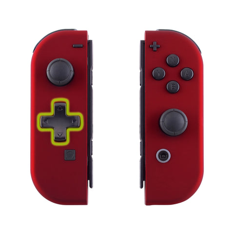 Soft Touch Red Joycon Handheld Controller Housing (D-Pad Version) with Full Set Buttons, DIY Replacement Shell Case for Nintendo Switch Joy-Con - Console Shell NOT Included - JZP302