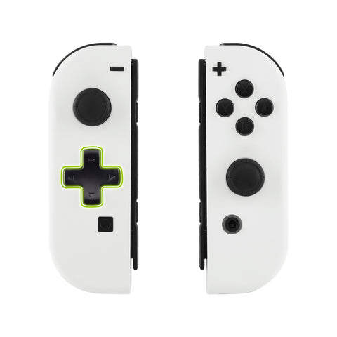 Soft Touch White Joycon Handheld Controller Housing (D-Pad Version) with Full Set Buttons, DIY Replacement Shell Case for Nintendo Switch Joy-Con - Console Shell NOT Included - JZP303
