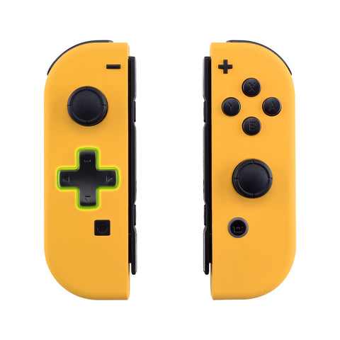 Soft Touch Caution Yellow Joycon Handheld Controller Housing (D-Pad Version) with Full Set Buttons, DIY Replacement Shell Case for Nintendo Switch Joy-Con - Console Shell NOT Included - JZP305