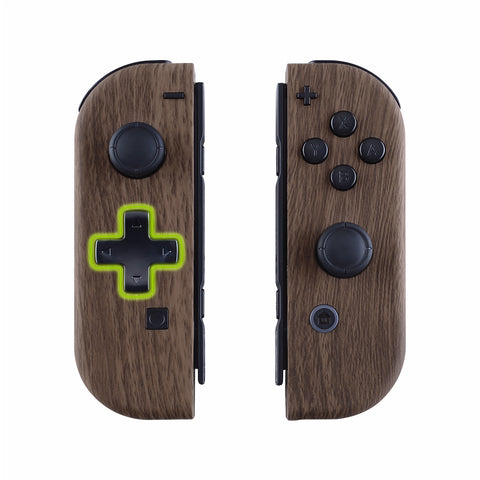 Wood Grain Soft Touch Joycon Handheld Controller Housing (D-Pad Version) with Full Set Buttons, DIY Replacement Shell Case for Nintendo Switch Joy-Con - Console Shell NOT Included - JZS201