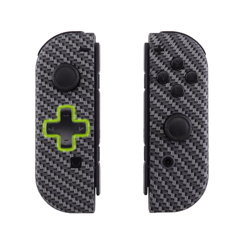Black Silver Carbon Fiber Soft Touch Joycon Handheld Controller Housing (D-Pad Version) with Full Set Buttons, DIY Replacement Shell Case for Nintendo Switch Joy-Con - JZS202