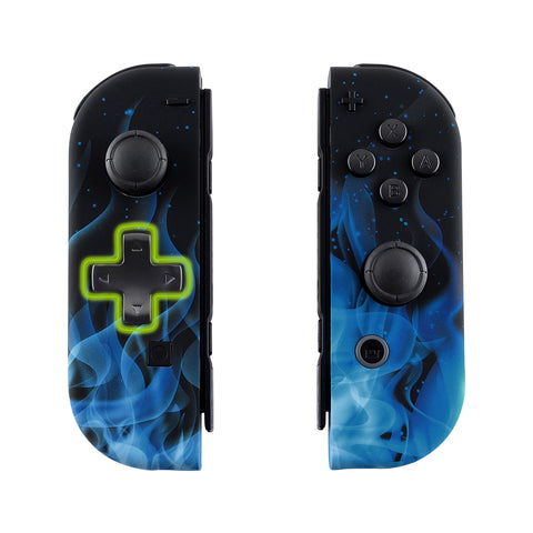 Blue Flame Soft Touch Joycon Handheld Controller Housing (D-Pad Version) with Full Set Buttons, DIY Replacement Shell Case for Nintendo Switch Joy-Con - Console Shell NOT Included - JZT101