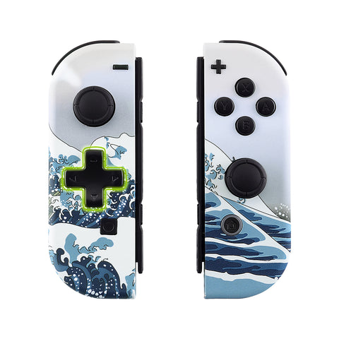 The Great Wave Soft Touch Joycon Handheld Controller Housing (D-Pad Version) with Full Set Buttons, DIY Replacement Shell Case for Nintendo Switch Joy-Con - Console Shell NOT Included - JZT103