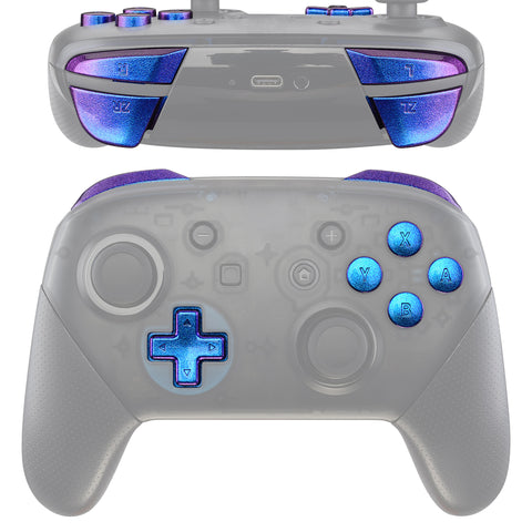 Purple Blue Chameleon Repair ABXY D-pad Keys ZR ZL L R Buttons for Nintendo Switch Pro Controller, Glossy DIY Replacement Full Set Buttons with Tools for Nintendo Switch Pro - Controller NOT Included - KRP301