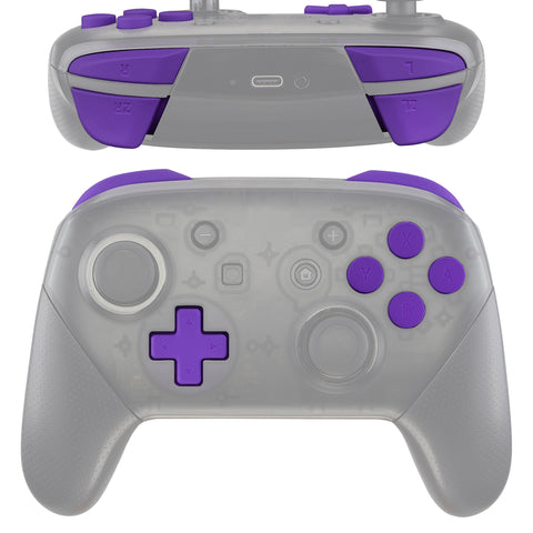 Purple Repair ABXY D-pad ZR ZL L R Keys for Nintendo Switch Pro Controller, Soft Touch DIY Replacement Full Set Buttons with Tools for Nintendo Switch Pro - Controller NOT Included - KRP305