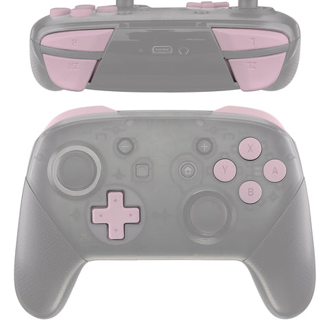 Sakura Pink Repair ABXY D-pad ZR ZL L R Keys for Nintendo Switch Pro Controller, Soft Touch DIY Replacement Full Set Keys with Tools for Nintendo Switch Pro - Controller NOT Included - KRP307