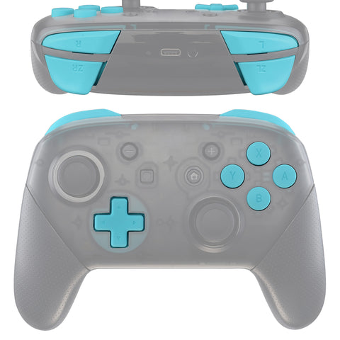 Heaven Blue Repair ABXY D-pad ZR ZL L R Keys for Nintendo Switch Pro Controller, Soft Touch DIY Replacement Full Set Keys with Tools for Nintendo Switch Pro - Controller NOT Included - KRP308