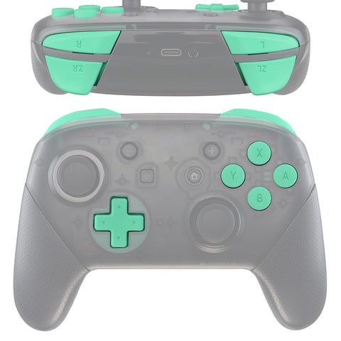 Mint Green Repair ABXY D-pad ZR ZL L R Keys for Nintendo Switch Pro Controller, Soft Touch DIY Replacement Full Set Buttons with Tools for Nintendo Switch Pro - Controller NOT Included - KRP309